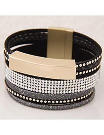 Temperament Black Metal&diamond Decorated Multilayer Design  Alloy Korean Fashion Bracelet