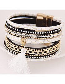 Temperamental Black+white Tassel Pendant Decorated Multilayer Design Alloy Korean Fashion Bracelet