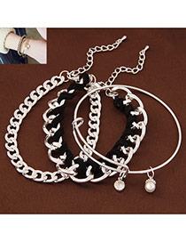 Temperamental Silver Color+black Pearl&rope Weave Decorated Multilayer Design  Alloy Korean Fashion Bracelet