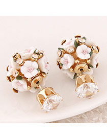 Sweet White Diamond&flower Decorated Ball Shape Design Alloy Stud Earrings