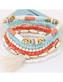 Fashion Light Blue Beads&tassel Decorated Multilayer Design  Alloy Korean Fashion Bracelet