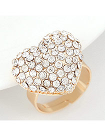 Fashion Gold Color Diamond Decorated Heart Shape Design  Alloy Korean Rings