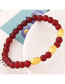 Fashion Red Beads Decorated Simple Design  Alloy Korean Fashion Bracelet