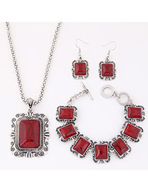 Fashion Red Square Shape Decorated Simple Design Alloy Jewelry Sets