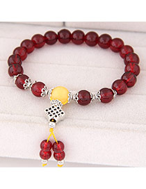Sweet Claret-red Beads Decorated Simple Design  Rosin Korean Fashion Bracelet