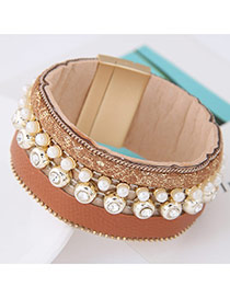 Trendy Brown Pearl Decorated Multilayer Wide Design