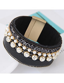 Trendy Black Pearl Decorated Multilayer Wide Design