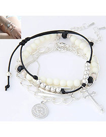 Trendy Silver Color Cross&coins Pendent Decorated Multilayer Design  Alloy Korean Fashion Bracelet