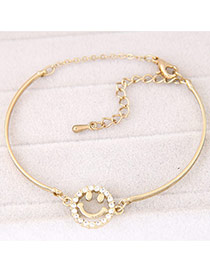 Trendy Gold Color Smile Pattern Decorated Simple Design  Alloy Fashion Bangles