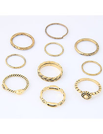 Trendy Gold Color Flower Decorated Simple Design(10pcs)