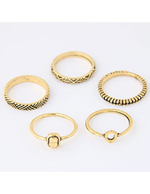 Trendy Gold Color Geometry Shape Decorated Simple Design(5pcs)