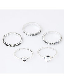 Trendy Silver Color Geometry Shape Decorated Simple Design(5pcs)