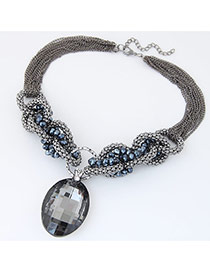 Fashion Gray Oval Pendant Decorated Multilayer Design