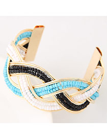 Bohemia Sky Blue Beads Decorated Weave Opening Design Alloy Fashion Bangles