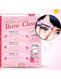 Fashion Pink Heart Pattern Decorated Arc Shape Design Eyebrow Card