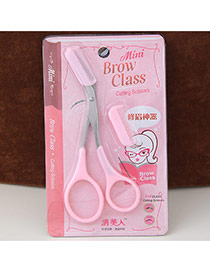 Fashion Pink Candy Color Simple Design With Comb Eyebrow Scissors  Plastic Beauty tools