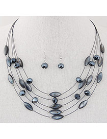 Bohemia Gray Beads Decorated Multilayer Design