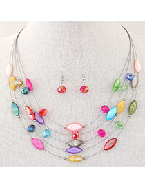 Bohemia Multicolor Beads Decorated Multilayer Design(random color earring) Alloy Jewelry Sets