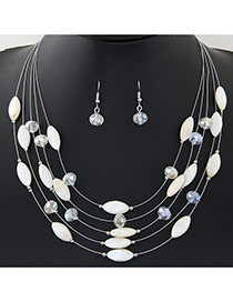 Bohemia Beige Beads Decorated Multilayer Design Alloy Jewelry Sets