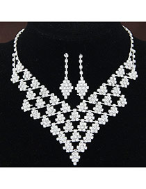 Fashion White Diamond Decorated Geometry Shape Hollow Out Design Alloy Jewelry Sets
