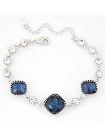Exquisite Dark Blue Square Gemstone Decorated Simple Design  Alloy Korean Fashion Bracelet