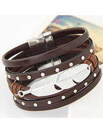 Fashion Dark Coffee Feather Shape Decorated Multilayer Design Alloy Korean Fashion Bracelet