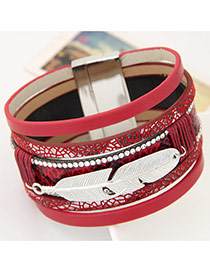 Fashion Red Feather Shape Decorated Multilayer Design  Alloy Korean Fashion Bracelet