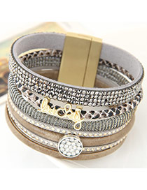 Fashion Gray Enlish Letter &diamond Decorated Multilayer Design