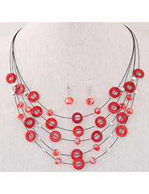Elegant Red Diamond&circle Decorated Multilayer Design  Alloy Jewelry Sets