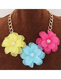 Sweet Multi-color Three Big Flower Decorated Short Chain Design