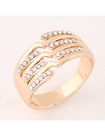 Sweet Gold Color Diamond Decorated Irregular Design  Alloy Korean Rings