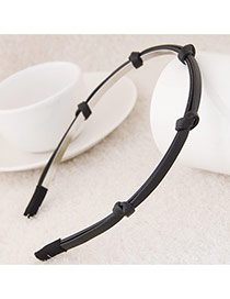 Sweet Black Knot Weaving Decorated Pure Color Narrow Design  Alloy Hair band hair hoop