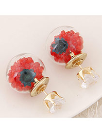 Sweet Red+dark Blue Diamond&flower Decoraed Simple Design  Alloy Stud Earrings