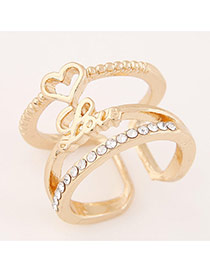 Sweet Gold Color Love Letter&heart Shape Decorated Opening Design  Alloy Korean Rings