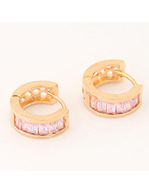 Sweet Gold Color+pink Diamond Decorated Semicircle Shape Design Cuprum Korean Earrings