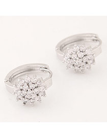 Sweet Silver Color Diamond Decorated Flower Shape Design Cuprum Korean Earrings