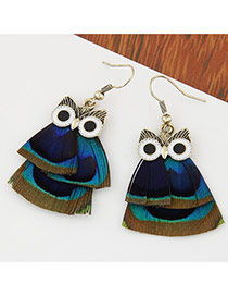 Sweet Multicolor Feather Decorated Owl Shape Design  Alloy Korean Earrings