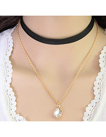 Fashion Black+gold Color Water Drop Pendant Decorated Double Layer Design Alloy Chokers