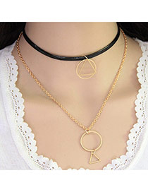 Fashion Black+gold Color Geometry Pendant Decorated Double Layer Design Alloy Chokers