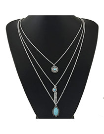 Vintage Anti-silver Multielement Pendant Decorated Multilayer Design Alloy Multi Strand Necklaces