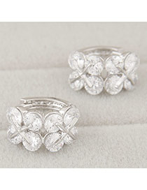 Sweet White Butterfly Shape Diamond Decorated Simple Design Zircon Korean Earrings