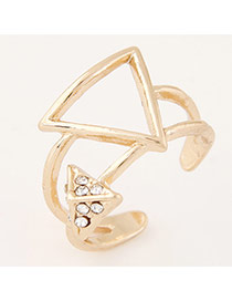 Sweet Gold Color Triangle Shape Decorated Opening Design Alloy Korean Rings