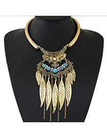 Fashion Gold Color Leaf Shape Decorated Tassel Design