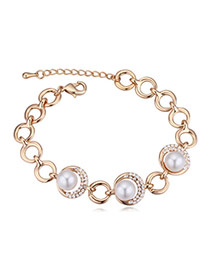 Elegant Champagne Gold+white Diamond&beads Decorated Circle Shape Design Alloy Crystal Bracelets