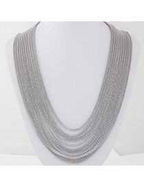 Fashion Silver Color Metal Decorated Multilayer Design