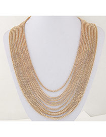 Fashion Gold Color Metal Decorated Multilayer Design Alloy Chains
