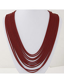 Fashion Red Metal Decorated Multilayer Design