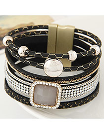 Trending Black Square Gemstone Decorated Multilayer Design
