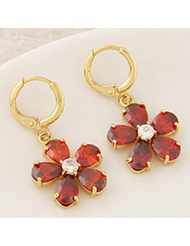 Sweet Red Diamond Decorated Flower Shape Design Cuprum Stud Earrings