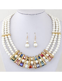 Fashion Multicolor Pearl Decorated Multilayer Design